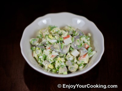 Crab Sticks Salad with Pickled Mushrooms and Apple