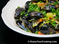 Mussels Steamed with Vegetables in White Wine Recipe