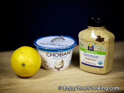 Yogurt, Mustard and Lemon Juice Salad Dressing: Step 1