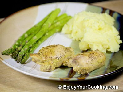 Baked Chicken Thighs in Mustard Soy Sauce