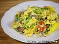 Scrambled Eggs with Asparagus and Mushrooms